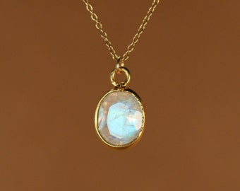 Moonstone necklace - gold moonstone - june birthstone - a fancy 22k gold bezel set faceted moonstone on a 14k gold vermeil chain