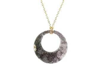 Lifesaver necklace - amethyst circle necklace - amethyst druzy necklace - disc necklace - raw crystal necklace