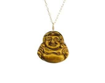 Buddha necklace, laughing buddha pendant, tigers eye necklace, stone buddha, meditation necklace, 14k gold filled, healing stone necklace