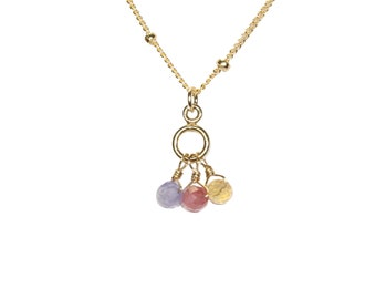 Tourmaline, Tanzanite, and Citrine necklace, tiny gemstone necklace, healing crystal necklace, dew drops, 14k gold filled satellite chain