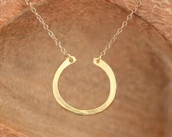 Semi circle necklace - horseshoe necklace - hoop necklace - circle necklace - a gold vermeil half hoop on a 14k gold vermeil chain