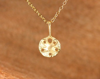 Sand dollar necklace - sea star necklace - gold sand dollar - beachy charm necklace - gift under 25 - tiny gold sand dollar