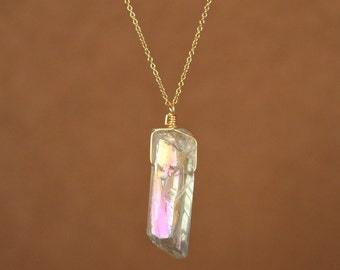 Angel aura quartz necklace - aura quartz - a raw angel aura crystal wire wrapped onto a 14k gold vermeil or sterling silver chain