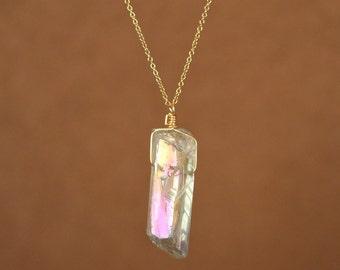 Angel aura quartz necklace - aura quartz - a raw angel aura crystal wire wrapped onto a 14k gold vermeil or sterling silver chain