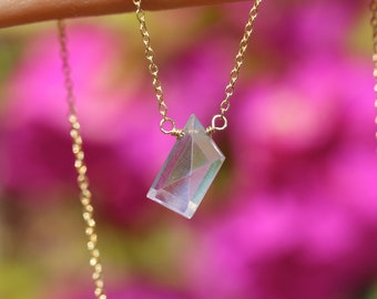 Scapolite necklace - lavender gemstone necklace - purple crystal necklace - geometric necklace - pink scapolite
