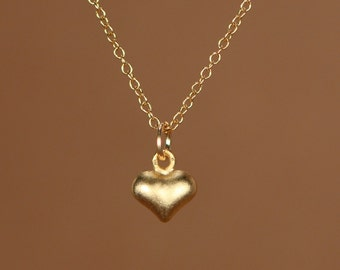 Tiny gold heart necklace - gold heart - heart necklace - petite - a simple and cute 22k gold overlay heart on a 14k gold vermeil chain.