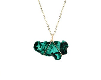 Malachite necklace - raw crystal necklace - healing crystal necklace - a wire wrapped raw malachite slice from Kazakhstan