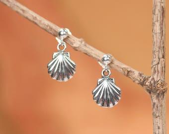 Silver shell earrings - tiny shell stud earrings - beach wedding jewelry - gold shell earrings - silver stud earrings