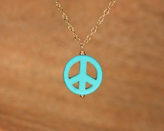 Peace necklace, peace sign necklace, Miley necklace, turquoise peace necklace, keep the peace, gold peace necklace, silver peace necklace