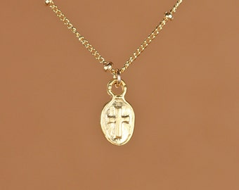 Cross necklace - religious necklace - catholic necklace - christian necklace - a tiny gold cross charm on a 14k gold filled satellite chain