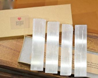 Raw selenite sticks, 4 selenite wands, crystal gift set, energy healing crystals, meditation, zen, satin spar, energy protection