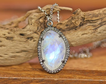 Moonstone and diamond necklace, pave diamond pendant necklace, rainbow moonstone necklace, statement necklace, diamonds are forever