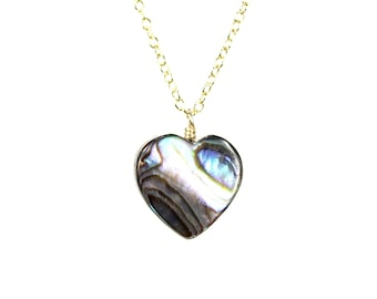 Abalone heart necklace - love necklace - heart necklace - shell necklace - rainbow necklace