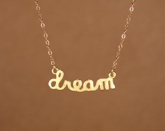 Dream necklace - gold dream necklace - dream script - fairytale - whimsical - a 22k gold overlay dream charm on a 14k gold filled chain