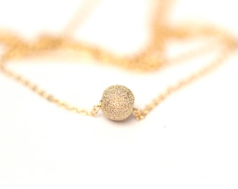 Tiny gold ball necklace - tiny gold bead necklace - delicate gold necklace - tiny gold solitaire necklace - bridal necklace