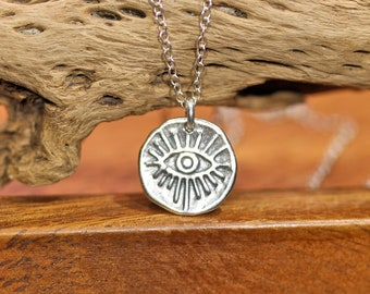 Silver evil eye necklace, sterling silver eye pendant, third eye necklace, crying eye, fortune teller, cool gift idea, witchy, boho