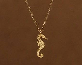 Gold sea horse necklace - little sea horse - sea horse - a tiny 22k gold overlay sea horse hanging from a 14k gold vermeil chain