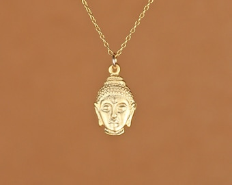 Buddha necklace - yoga necklace - mediatation necklace - peace - a gold vermeil buddha head charm on a 14k gold vermeil chain