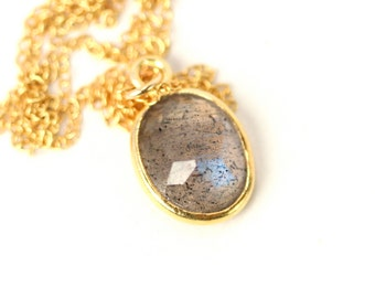 Labradorite necklace - crystal necklace - Rainbow necklace - A 22k gold lined genuine labradorite on a 14k gold vermeil chain