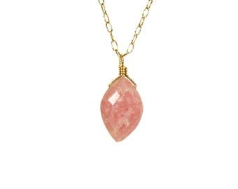 Rhodochrosite necklace, pink crystal pendant, healing crystal necklace, dainty gold necklace, marquise shape, 14k gold filled chain