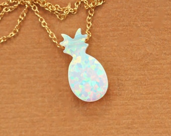 Pineapple necklace - opal necklace - pineapple charm necklace - summer jewelry - fruit - an opal pineapple on a 14k gold vermeil chain