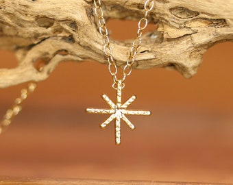 Starburst necklace, snowflake necklace, celestial necklace, frozen necklace, twinkle necklace, star necklace, dainty gold necklace