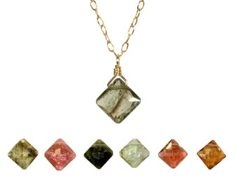 Tourmaline necklace, dainty necklace, energy healing crystal, chakra jewelry, watermelon tourmaline pendant, 14k gold filled chain,