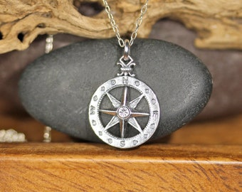 Wanderlust necklace, compass necklace in silver, true north, nautical compass pendant, travelers necklace, going away gift