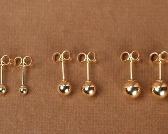 18K WHITE GOLD EARRINGS WITH 6 MM BALLS BALL ROUND SPHERE MADE IN ITALY
