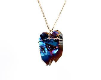 Titanium quartz necklace - rainbow crystal necklace - raw crystal necklace