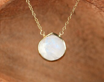Rainbow moonstone necklace - teardrop moonstone necklace - crystal necklace necklace - a gold bezel set moonstone on a 14k gold filled chain