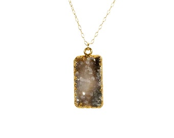 Druzy necklace, raw crystal necklace, gold bar necklace, rectangle necklace, black crystal quartz pendant, 14k gold filled chain