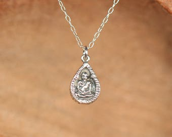 Silver buddha necklace - yoga necklace - mediatation necklace - peace - inspiration jewelry