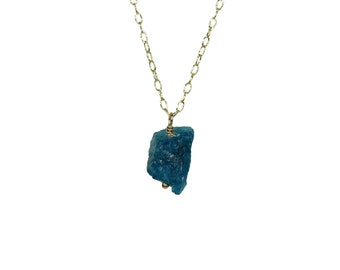 Blue apatite necklace, raw crystal necklace, blue crystal pendant, ocean blue, healing stone necklace, layering necklace, boho jewelry