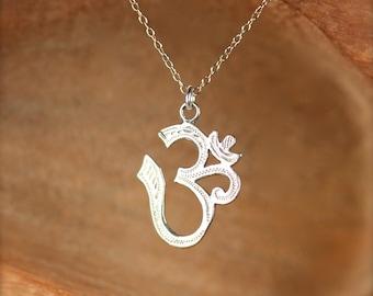Sterling silver ohm necklace - ohm necklace - om - omkara - yoga necklace - pranava - a silver ohm on a sterling silver chain