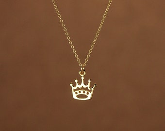 Crown necklace - gold crown - tiny gold crown - princess - tiara necklace - a little 22k gold plated crown on a 14k gold vermeil chain