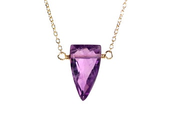 Amethyst crystal healing necklace, february birthstone, triangle necklace, crystal spike necklace, gemstone point, purple crystal jewelry