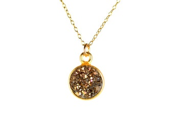 Druzy necklace - drusy necklace - crystal necklace - a gold vermeil lined titanium druzy on a 14k gold vermeil chain