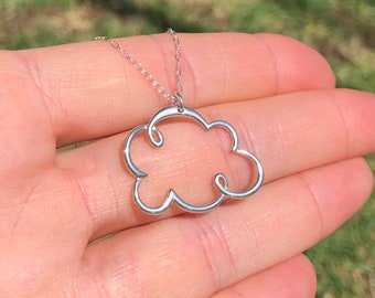 Cloud necklace, weather necklace, silver storm cloud pendant, rain cloud, kawaii necklace, cute gift idea, boho necklace, nature lover