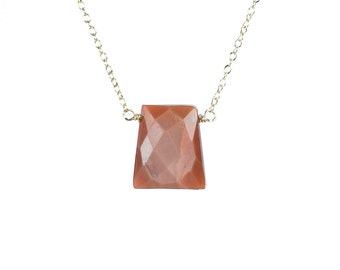 Sunstone necklace - peach crystal necklace - geometric necklace - 14k gold vermeil chain