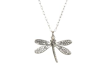 Dragonfly necklace, bug necklace, dragonfly pendant necklace, sterling silver insect, boho jewelry, nature lover, girls necklace in silver
