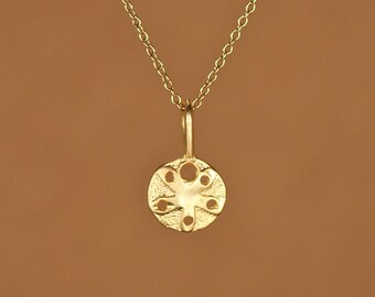 Gold sand dollar necklace - tiny sand dollar - beach necklace - starfish - a little 22k gold vermeil sand dollar on a 14k gold vermeil chain