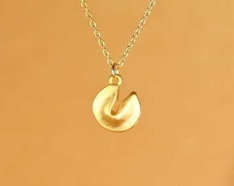 Fortune cookie necklace - gold fortune cookie - silver fortune cookie - a cute fortune cookie on a 14k gold vermeil or sterling silver chain