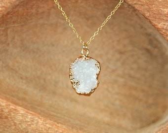 Druzy necklace - raw quartz necklace - raw crystal necklace - gold druzy necklace - a snow white druzy on a 14k gold vermeil chain