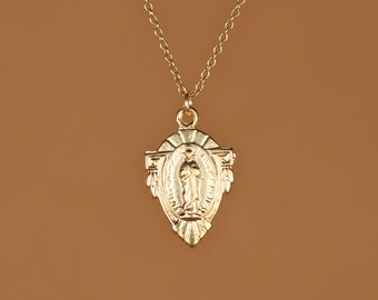 Virgin mary necklace - religious necklace - catholic necklace - a tiny gold virgin mary on a 14k gold vermeil chain