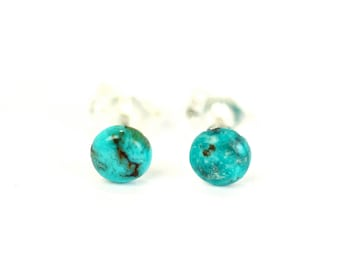 Turquoise earrings - dot earrings - half circle earrings - genuine turquoise stud earrings - turquoise studs - turquoise dot earrings