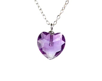 Heart necklace - amethyst heart necklace - february birthstone - a faceted amethyst heart on a sterling silver chain
