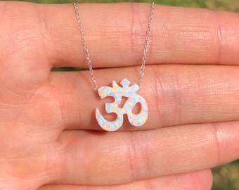 Opal ohm necklace, ohm pendant, sterling silver ohm, peace necklace, yoga necklace, zen, pravana, meditation necklace, boho necklace