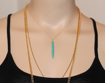 Spike necklace - turquoise spike necklace - layering necklace - a long turquoise point on 14k on a 14k gold filled or sterling silver chain
