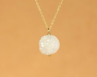 Quartz necklace - druzy necklace - healing crystal necklace - a white druzy disc wire wrapped onto a 14k gold vermeil chain